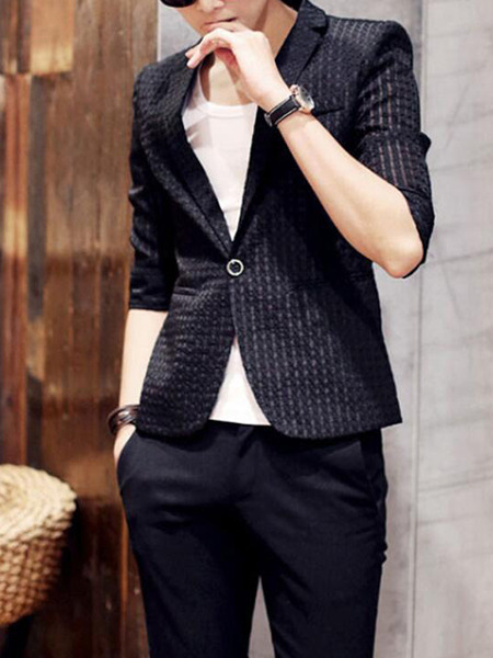 Black Slim Jacquard One Button Men Suit for Office Evening Wedding Groomsmen