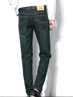 Dark Blue Slim Denim Men Pants for Casual Office Party