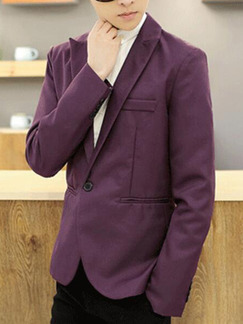 Purple Slim Lapel One Button Long Sleeve Men Suit for Office Evening Wedding Groomsmen