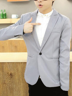 Light Gray Slim Lapel One Button Long Sleeve Men Suit for Office Evening Wedding Groomsmen