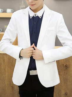 White Slim Lapel One Button Long Sleeve Men Suit for Office Evening Wedding Groomsmen