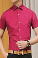 Rose Carmine Slim Single-Breasted Shirt Men Shirt for Casual Office Party