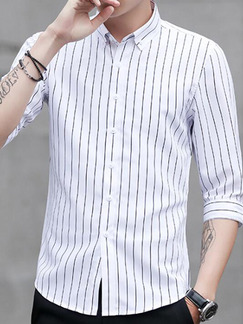 White Loose Stripe Single-Breasted Shirt Men Shirt for Casual Office Party
