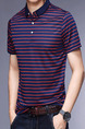 Navy Blue and Red Slim Contrast Stripe T-Shirt Men Shirt for Casual Party