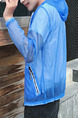 Blue Loose Hooded See-Through Long Sleeve Men Jacket for Casual