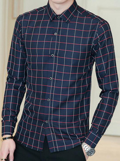 Navy Blue Slim Contrast Grid Long Sleeve Men Shirt for Casual Office