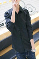 Black Slim Lapel Polo Long Sleeve Men Shirt for Casual Party Office