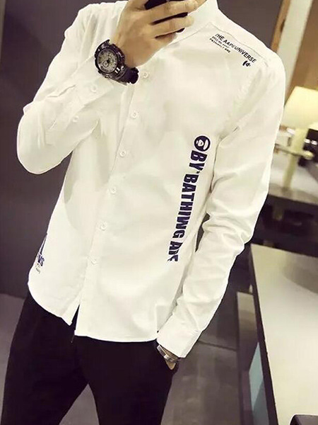 White Slim Letter Polo Long Sleeve Men Shirt for Casual Office Party