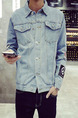 Blue Loose Denim Long Sleeve Plus Size Men Jacket for Casual