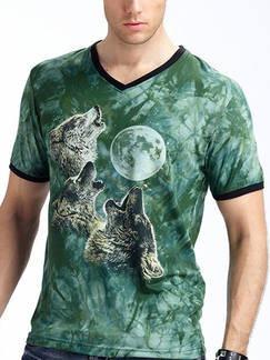 Green Slim Printed Pattern V Neck Plus Size Men Shirt for Casual