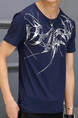 Dark Blue Slim Located Printing Men Shirt for Casual
