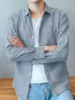 Light Gray and White Slim Stripe Single-Breasted Long Sleeve Men Shirt for Casual Party Office