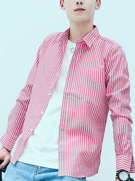 Pink and White Slim Stripe Single-Breasted Long Sleeve Men Shirt for Casual Party Office