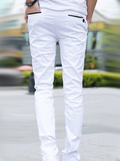 White Slim Contrast Pockets Long Men Pants for Casual Party