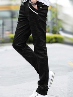 Black Slim Contrast Pockets Long Men Pants for Casual Party