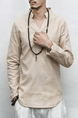 Beige Loose V Neck Pure Color Plus Size Long Sleeve Men Shirt for Casual