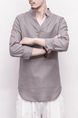 Gray Loose V Neck Pure Color Plus Size Long Sleeve Men Shirt for Casual