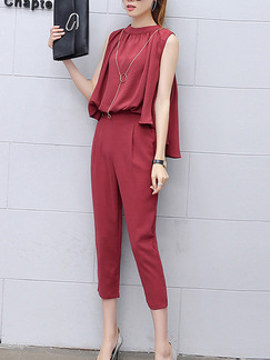 Red Stand Collar Loose Zipped Plus Size Two Piece Pants Jumpsuit for Casual Party Office