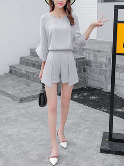 Grey Chiffon Two-Piece Asymmetrical Hem V Neck Furcal Long Sleeve Plus Size Jumpsuit for Casual Party Office