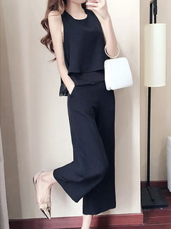 Black Chiffon Two-Piece Slim Ruffled Round Neck Pants Wide leg Jumpsuit for Casual Party Evening Office