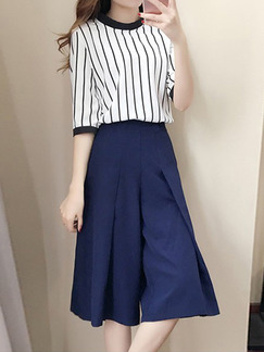 Blue and White Plus Size Stand Collar Slim Stripe Two-Piece Contrast Shorts Wide leg  Jumpsuit for Casual Party