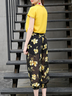 Black and Yellow Plus Size Printed Two-Piece V Neck Contrast Bloomers Floral Cute Jumpsuit for Casual Party Office