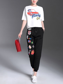 White and Black Colorful Loose Two-Piece Contrast Located Printing Drawstring Radish Pants Jumpsuit for Casual