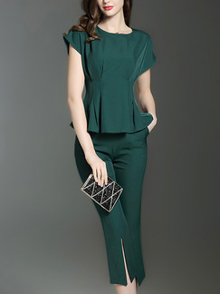 ffdcc7023637 Green Slim Two-Piece Pleated Furcal Pants Jumpsuit for Casual Party Office