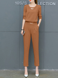 1b57550eda54 Brown Slim Two-Piece Plus Size Pants Jumpsuit for Casual Party Office