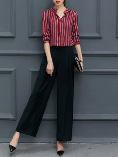 63b423bb2fb Red and Black Two-Piece Slim Stripe Contrast Pants Wide Leg Plus Size  Jumpsuit for