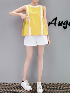 Yellow and White Plus Size Loose Contrast Linking Two-Piece Pleated Shorts Wide Leg Jumpsuit for Casual