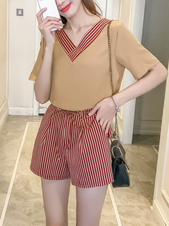 Beige and Red Slim Two-Piece Stripe Linking Band Belt V Neck Wide Leg Shorts Jumpsuit for Casual
