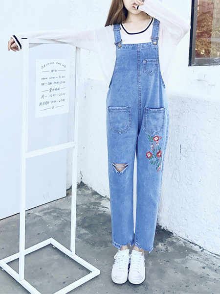 Blue Loose Strap Holes Embroidery Denim Pants Jumpsuit for Casual