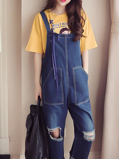 Blue Loose Denim Strap Holes Slip Jumpsuit for Casual
