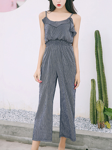 Grey Jumpsuit Strap Wide Leg Ruffled Stripe Slip Jumpsuit for Casual Party