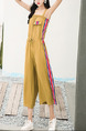 Brown Jumpsuit Wide Leg Contrast Linking Drawstring Jumpsuit for Casual