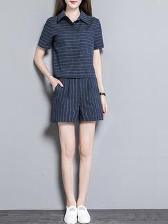 523233da04a5 Blue Plus Size Slim Shirt Stripe Two-Piece Plus Size Shorts Jumpsuit for  Casual