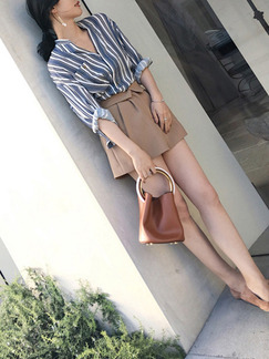 Blue White and Brown Two-Piece Slim Stripe V Neck Jumpsuit for Casual Office