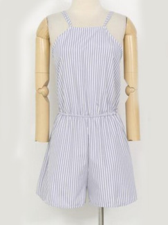 Blue and White Plus Size Jumpsuit Open Back Stripe Halter Jumpsuit for Casual