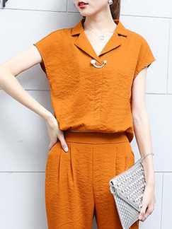 Orange Plus Size Loose Two-Piece Pants Jumpsuit for Casual Office