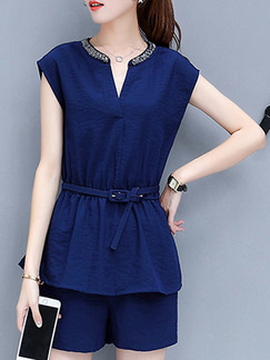 Blue Plus Size Slim V Neck Two-Piece Shorts Wide Leg Jumpsuit for Casual