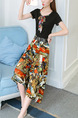Black Colorful Plus Size Round Neck Wide Leg Linking Contrast Printed Jumpsuit for Casual Party