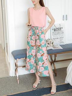 Pink Colorful Plus Size Wide Leg Chiffon Contrast Furcal Band Belt Printed   Jumpsuit for Casual Party