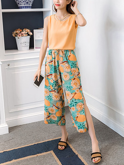 Orange Colorful Plus Size Wide Leg Chiffon Contrast Furcal Band Belt Printed   Jumpsuit for Casual Party