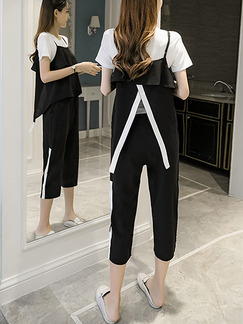 Black and White Loose Linking Contrast Furcal Adjustable Waist Ruffled    Jumpsuit for Casual Party