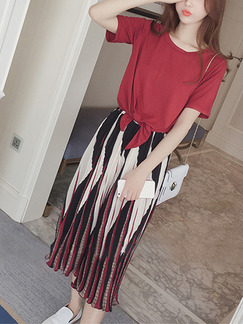Red Black and White Loose Chiffon Wide Leg Round Neck Pleated Contrast Adjustable Waist Geometric Pattern Band Belt Jumpsuit for Casual Party