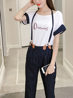 Blue and White Loose Strap Round Neck Stripe Linking Contrast Located Printing Jumpsuit for Casual Party Office