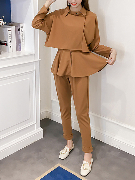 Brown A-Line Slim Lapel Pleated Buckled Long Sleeve Jumpsuit for Casual Office Evening