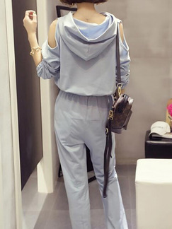 Grey Knitted Plus Size Loose Hooded Off-Shoulder Linking Contrast Furcal Adjustable Waist Long Sleeve Jumpsuit for Casual
