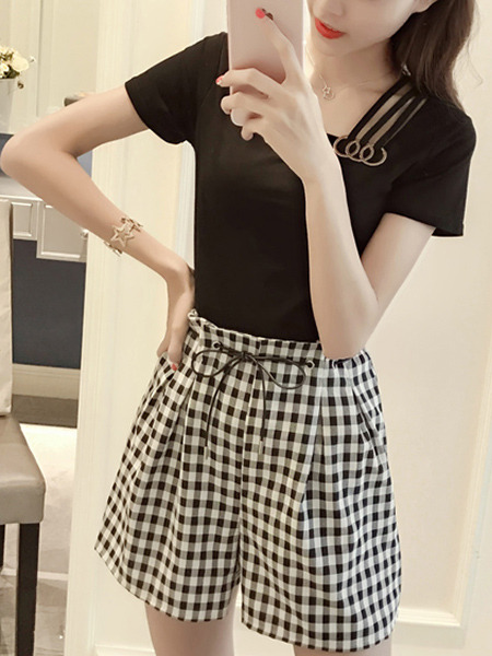 Black and White Irregular Neck Buckled Slim T-shirt Grid Drawstring Wide Leg Shorts Contrast Jumpsuit for Casual Party